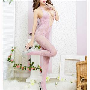 Sexy Halter See-through Bodysuit Lingerie, Pink See-through Crotchless Bodystocking, Halter Hollow Out Mesh Bodystocking Lingerie, Hollow Out See-through Mesh Bodystocking, See-through Mesh Open Crotch Bodystocking, #BS17103