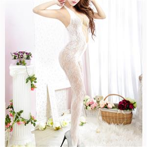 Sexy Halter See-through Bodysuit Lingerie, White See-through Crotchless Bodystocking, Halter Hollow Out Mesh Bodystocking Lingerie, Hollow Out See-through Mesh Bodystocking, See-through Mesh Open Crotch Bodystocking, #BS17104