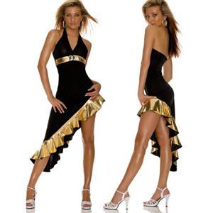 Black and Golden Halter Neck Dress, High-low Asymmetric Latin Dance Dress, V-Neck Strap Latin Dance Dresses, #N8533