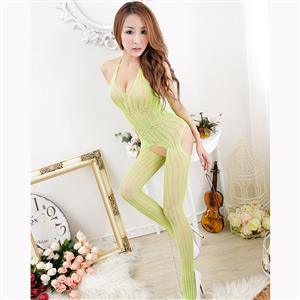 Sexy Halter See-through Bodysuit Lingerie, Light Green See-through Crotchless Bodystocking, Halter Hollow Out Stripe Bodystocking Lingerie, Hollow Out See-through Stripe Bodystocking, See-through Stripe Open Crotch Bodystocking, #BS17121