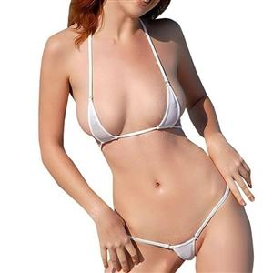 Halter Three-Point Lingerie Set, Sexy White Lingerie Set, Night Club Lingerie Set, Sexy Pole Dancing Lingerie Set, Bikini Bra Top and Panty Set, #N17400