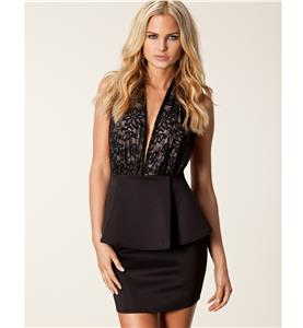Deep Lace V Neck Halter Dress, Black Backless Plunge Peplum Dress, Low Cut Peplum Party Dress, #N8790