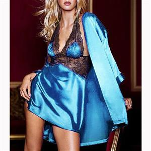 Blue Satin Lace Patchwork Bathrobe, Silk Lightweight Sleepwear Robe, Sexy Sleepwear Bathrobe Blue, Satin Bathrobe Nightgown, Long Sleeve Blue Bathrobe, Halter V Neck Nightgown for Women, #N17233