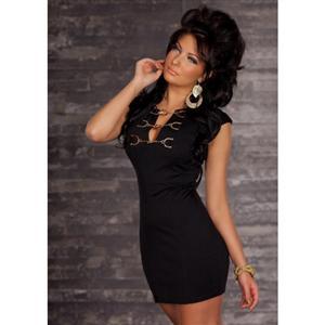 Chain Buckle Dress, T-Shirt Mini Dress, Black Mini Dress, #N2148