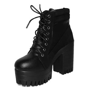 Lace-up Black Boots, Black Punk Gothic Boots, Round Toe Chunky High-heeled Boots, #SWB20185