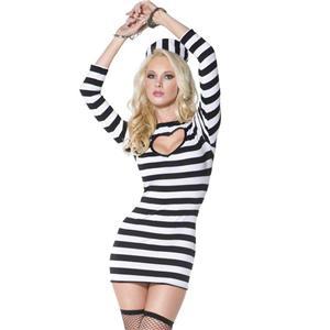 Heartbreaker Convict Costume, Sexy Prisoner Costume, Sexy Convict Dress and Hat, #N5335