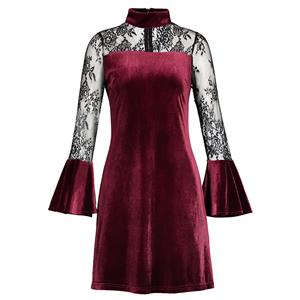 A-line Dresses for Women, Day Dresses for Women, Sexy Wine Red Dresses for Women, Casual Mini dress, Floral Mesh Daily Dress, High Neck Dresses, #N15553