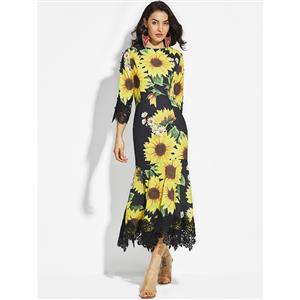 High Neck Maxi Dress, 3/4 Sleeve Maxi Dress, Floral Print Casual Maxi Dress, Maxi Dresses for Women Casual, Summer Beach Maxi Dress, #N14881