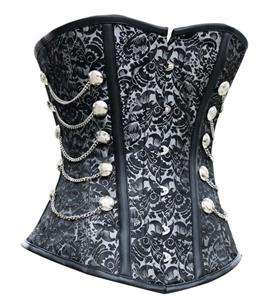 High Quality Black Steel Bone Overbust Corset N10068