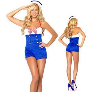 High Seas Honey Costume, Sassy Sailor Costume, Sexy Adult Halloween Sailor Costume, #M4005