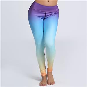 Classical Color Gradient Print Yoga Pants, High Waist Tight Yoga Pants, Fashion Color Gradient Print Fitness Pants, Casual Stretchy Sport Leggings, Women