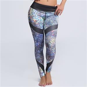Classical Colorful Lights Print Yoga Pants, High Waist Tight Yoga Pants, Fashion Colorful Lights Print Fitness Pants, Casual Stretchy Sport Leggings, Women