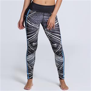 Classical Dot Print Yoga Pants, High Waist Tight Yoga Pants, Fashion Line Print Fitness Pants, Casual Stretchy Sport Leggings, Women