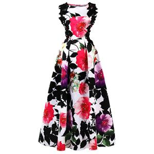 Sleeveless Boat Neck Maxi Evening Gowns, Floral Print High Waist Maxi Evening Dress, Women