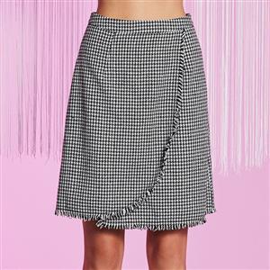 High Waist Print Skirt, Houndstooth Print Skirt, Fashion Bodycon A-Line Skirt, Asymmetric Patchwork Skirt, Bodycon Midi Skirt, High Waist A-Line Skirt, #N15723