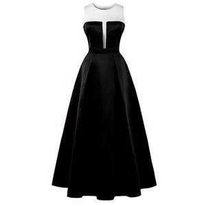 Sleeveless Round Neck Maxi Evening Gowns, Black Sleeveless High Waist Maxi Evening Dress, Women