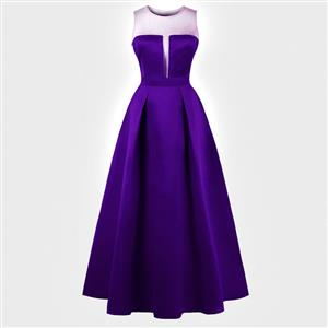 Sleeveless Round Neck Maxi Evening Gowns, Purple Sleeveless High Waist Maxi Evening Dress, Women