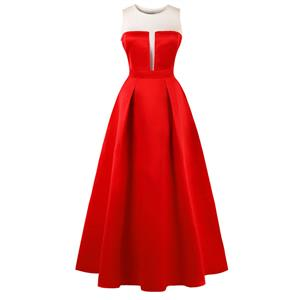 Sleeveless Round Neck Maxi Evening Gowns, Red Sleeveless High Waist Maxi Evening Dress, Women