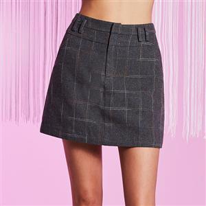 High Waist Plaid Skirt, Pocket Plaid Skirt, Fashion Dark Gray Skirt, Fashion Plaid Skirt, Mini Package Hip Skirt, High Waist Package Hip Skirt, #N15721