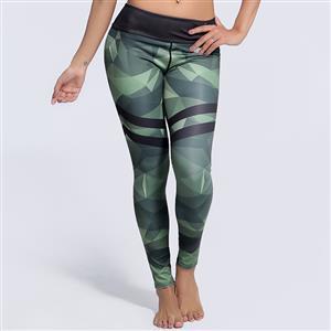 Classical Plain Printed Yoga Pants, High Waist Tight Yoga Pants, Fashion Black/Green Printed Fitness Pants, Casual Stretchy Sport Leggings, Women