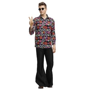 1960s Mens Hippie Flower Shirt Groovy Disco Dancing Flared Trousers Halloween Costume N19393