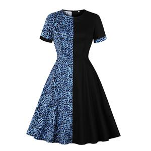 Retro Hit Color Midi Dress, Vintage Dresses for Women, Sexy Dresses for Women Cocktail Party, Vintage High Waist Dress, Short Sleeves Swing Dress, High Waist Swing Daily Dress, Leopard Print Dress, #N20513