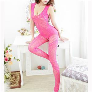 Sexy Sleeveless See-through Bodysuit Lingerie, Rose Red See-through Crotchless Bodystocking, Sleeveless Hollow Out Bodystocking Lingerie, Sexy See-through Hollow Out Bodystocking, Hollow Out See-through Open Crotch Bodystocking, #BS17014