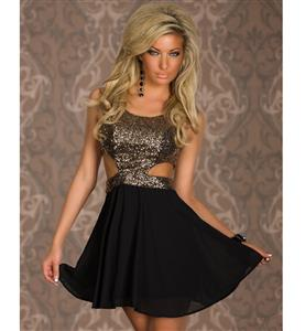 Scoop Neck Sleeveless Big Swing Dress, Gold Sequin Cutout Top Skater Dress, Hollow Out Glitter Evening Dress, #N8916