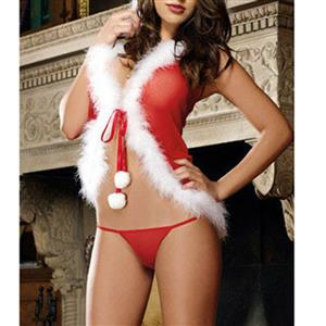 Sexy Hooded Babydoll Lingerie Set, Sexy Red Christmas Lingerie Set, Christmas Girl Cosplay Costume, Valentine