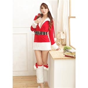 Hooded Velvet Mini Dress, Mini Dress Velvet, Hooded Santa Dress, Hooded Christmas Dress, #XT6381