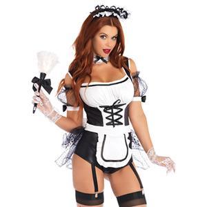 Hot French Maid Black Bodysuit with Lacing-up Details Adult Anime Cosplay Costume Set N18354