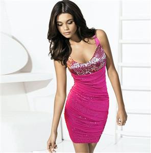V Neck Sequin Dress, Halter Sequin Backless, Halter Club Party Dress, #N6913