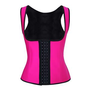 Hot-Pink Steel Bone Vest Corset, Latex Underbust Corset, Hot-Pink Underbust Corset, Women
