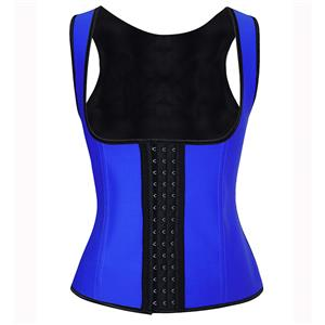 Royalblue Steel Bone Vest Corset, Latex Underbust Corset, Royalblue Underbust Corset, Women