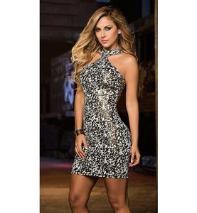 Hot Sexy Black and White Halter Neck Mini Dress N10684