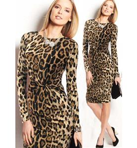 Hot Sexy Round Neck Long Sleeves Leopard Print Knee-length Bodycon Dress N10061