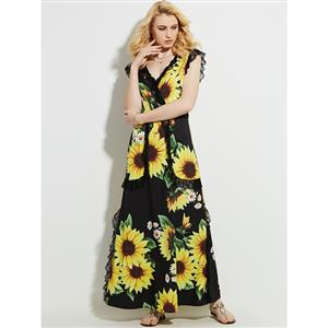 Hot Summer V Neck Pleated Patchwork Sunflower Pint Maxi Dress N13095