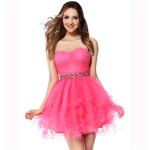 A-line Prom Dresses, Hot Pink Cocktail Dresses, Cheap Sweet 16 Dresses, Fashion Short/Mini Dresses, Homecoming Dresses under 200 on sale, #Y30053