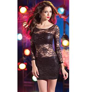 Illusion Lace Overlay Dress, Illusion Lace Dress, Long Sleeve Sheer Lace and Wet Look Dress, #N8003