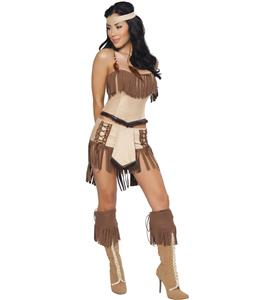 Indian Mistress Costume, Suede Indian Costume, Womens Indian Halloween Costume, #N6724