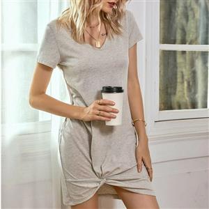 Solid Color T-shirt Dress, Fashion Loose Waist T-shirt Dress,Short Sleeve Summer Dress, V Neck Short Sleeve Dresses for Women, Irregular Kink Skirt T-shirt,Casual T-shirt Dress, #N20558