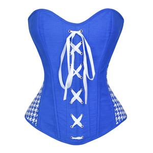 Denim Jeans Overbust Corset, Denim Overbust Corset, corset bustier, Sexy Strapless Bustier Corset, Houndstooth Corset, #N5515