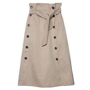 Fashion Khaki Skirt, A-line Skirt for Women, Khaki A-line Skirt, High Waist Casual Skirt, Khaki Casual Skirt, Fahion Button A-line Skirt, #N15711