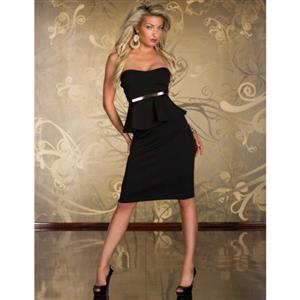 Knee Length Evening Peplum Dress, Off-the-shoulder Black Peplum Midi Dress, Wrap Chest Halter Cocktail Dress, #N8681