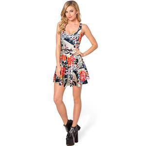 Koi Fashion Skater Dress, Sleevele Koi and Floral Pattern Pleated Dress, Koi Rev Reversible Mini Dress, #N8751