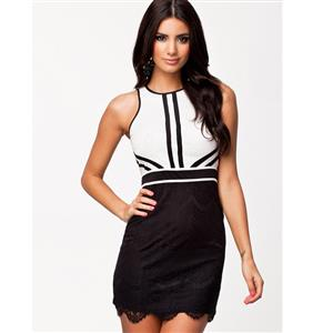Lace Contrast Panel Dress, Short lace dress, Contrast Lining Lace Dress, #N8623