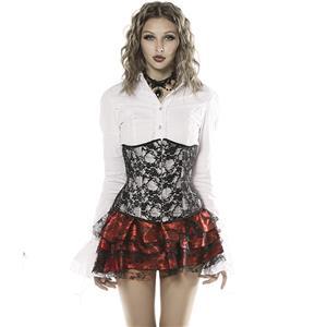 Black Lace Underbust Corset, Lace Overlay Underbust Corset, Floral Lace Gothic Corset, #N9359