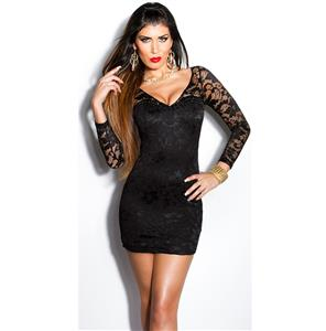 Lace Long Sleeve Black Dress, Sleeve Black Mini Dress, Rhinestone Lace Sleeve Dress, #N8231