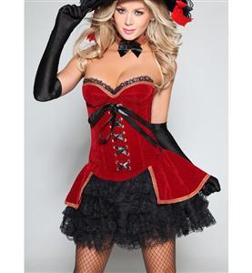 Santa Corset set, Velvet  Corset set, Corset & Mini Skirt, #N2243