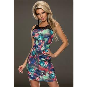 Vintage Printed Bodycon Dress, Sexy Rose Print Dress, Lace Inset Casual Dress, #N8776
